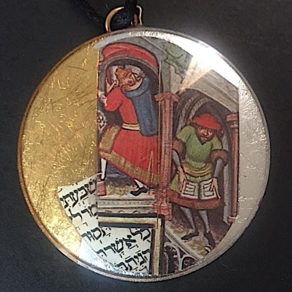 ✡️  Deco Art Judaica Pendant ~  Signed Medallion